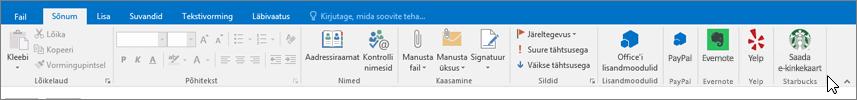 Outlooki lindi kuvatõmmis, kus fookus on menüül Sõnum ja kursor on vasakus servas nupul Lisandmoodulid Selles näites on lisandmoodulid Office'i lisandmoodulid, PayPal, Evernote, Yelp ja Starbucks.