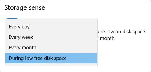 Windows 10 salvestusruumi rippmenüü valimine salvestusruumi sensori käivitamise sageduse valimine