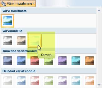 Valige nupp Muuda värvi ja seejärel valige jaotises Värvimudelid suvand Kahvatu.