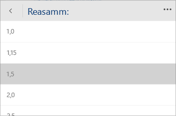 Kuvatõmmis Word Mobile'i menüüst, kus saab valida reasammu väärtuse.