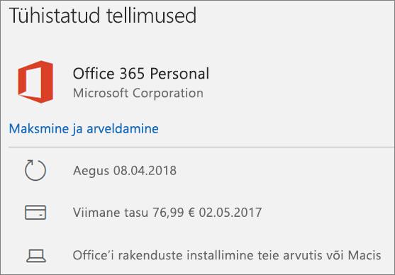 Kuvab aegunud Office 365 tellimust