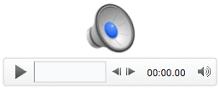 Heli ikoon ja taasesituse juhtelemendid rakenduses PowerPoint for Mac 2011
