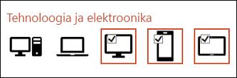 Saate lisada korraga mitu ikooni, klõpsates järgemööda ühe korra igat soovitud ikooni.