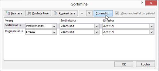Dialoogiboksi Sortimine avamiseks klõpsake nuppu Sordi.