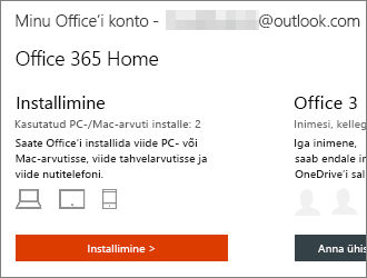 """Office 365 lepingute puhul valige Installi > lehel """"Minu Office'i konto"""""""