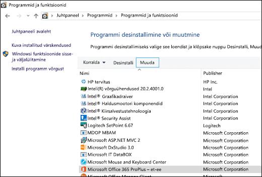 Klõpsake apletis Programmide desinstallimine nuppu Muuda, et käivitada Microsoft Office'i parandustoiming
