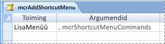 A menu macro in Design view
