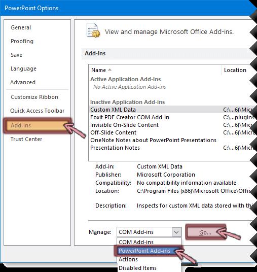Avage PowerPointi lisandmoodulite loend ja klõpsake nuppu Ava.