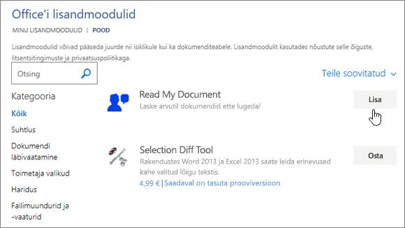 Kuvatõmmis lehe Office'i poe, kus saate valida või otsingu rakenduse Word rakendused.