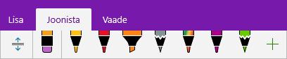 OneNote'i pliiatsigalerii kohandatud pliiatsitega.