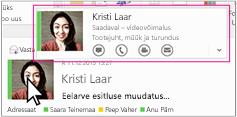 Outlooki Skype'i ärirakenduse kiirmenüü