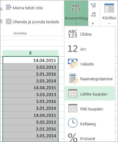 Andmete teisendamine menüülindi kaudu lühikese kuupäeva vormingusse