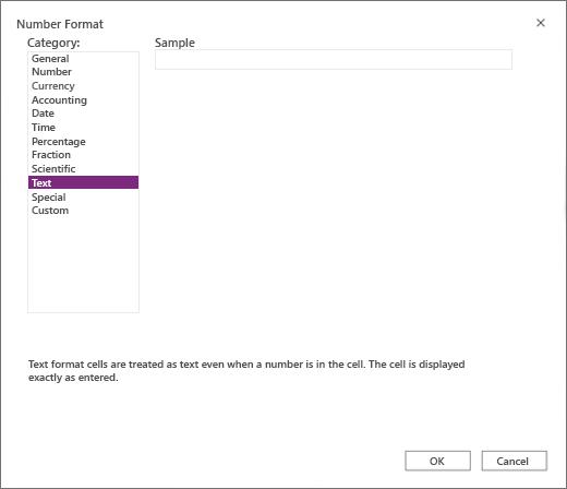 Excel for the Web Numbrivorming Screen