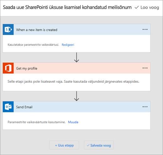 Järgige juhiseid ühenduse voogu saidil Microsoft Flow