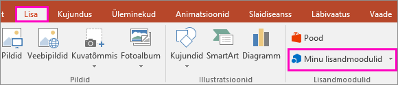 Pilt PowerPointi lindil kuvatavast lisamismenüü nupust  Minu lisandmoodulid