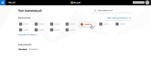 Office 365 avaleht, kus on esile tõstetud PowerPointi rakendus