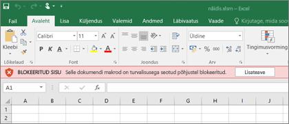 Kui püüate avada kahtlasest allikast pärinevat faili, blokeerib Office kõik makrod.