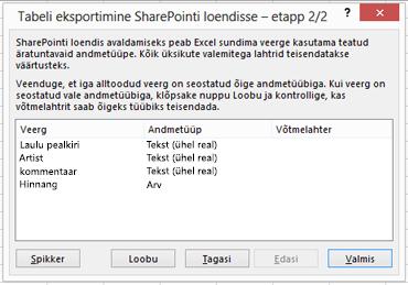 "Dialoogiboksi ""SharePointi eksportimine"" teine leht"