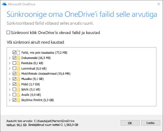 """Dialoogiboksi """"OneDrive'i failide sünkroonimine selle arvutiga"""" kuvatõmmis."""