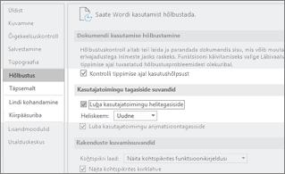 Hõlbustusfunktsioonide suvandid, kus on esile tõstetud Heliskeem