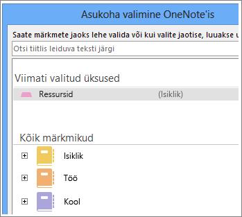 Kuvatõmmis OneNote'i aknast, kus saate valida Skype'i märkmete tegemiseks soovitud lehe.