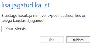Outlook Web Appi dialoogiboks Ühiskausta lisamine