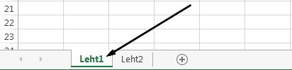 Exceli töölehe vahekaardid Exceli akna allosas.