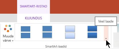 SmartArt-riistad, valige galeriis SmartArt-laadid avamiseks noolenuppu veel laade