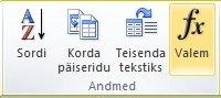 Word 2010 tabeliriistade menüü Paigutus jaotis Andmed