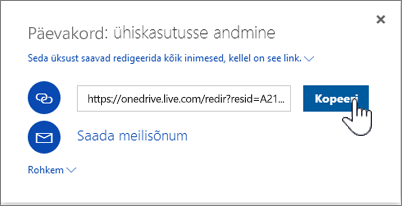 Kuvatõmmis OneDrive'i ühiskasutusse andmise dialoogiboksi suvandist Hangi link