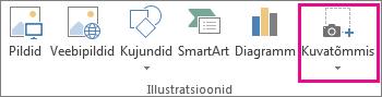 Kuvatõmmise nupp Wordi jaotises Illustratsioonid