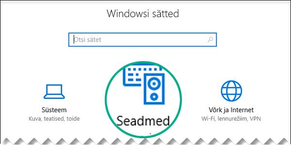 "Valige Windowsi sätete dialoogiboksis ""Seadmed""."