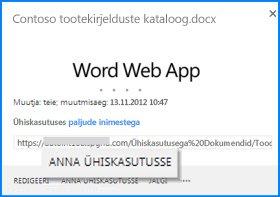SharePointi dokumenditeegis asuva dokumendi viikteksti akna kuvatõmmis. Viikteksti kuvatakse dokumendi faili nimi ja URL-i. See sisaldab ka redigeerimine ja ühiskasutus jälgi nupud, mida saate klõpsata toimingu tegemiseks.