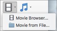 Pildil on filmi brauseris ja filmi faili suvandid saadaval Video rippmenüü juhtelement. Valige suvand filmi lisamine PowerPointi esitlusse.