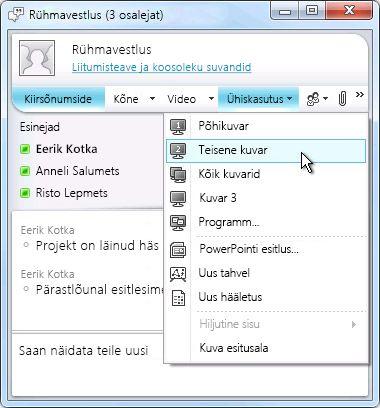 Rakenduse Microsoft Lync aken koos ekraani ühiskasutuse suvanditega