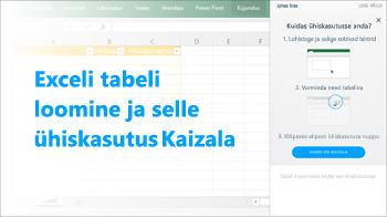 Kuvatõmmis: Exceli tabeli loomine ja selle ühiskasutus Kaizala rühmas