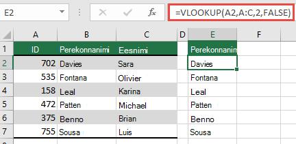 Kasutage traditsioonilist funktsiooni VLOOKUP ühe lookup_value: =VLOOKUP(A2;A:C;32;FALSE). See valem ei tagasta dünaamilist massiivi, kuid seda saab kasutada koos Excel tabelitega.