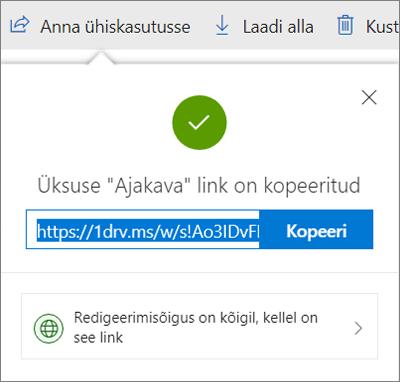 Lingi kopeerimise kinnitamine failide ühiskasutusse andmisel OneDrive'i lingi kaudu
