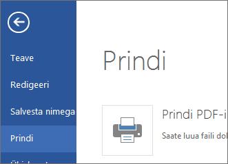 Word Web Appi käsk Prindi