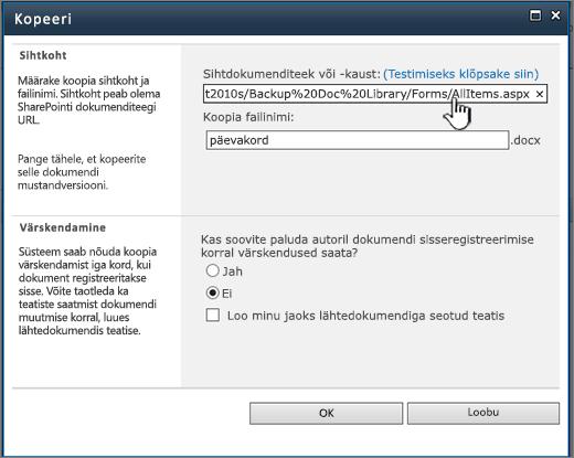 Faili kopeerimise dialoogiboks esiletõstetud URL-iga