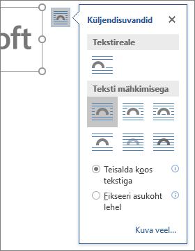 Paigutussuvandite abil saate valida, kuidas tekst paigutub ümber sisestatud pildi.