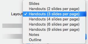 """Valige dialoogiboksis """"Print"""" (Printimine) mõni paigutuse """"Handout"""" (Jaotusmaterjalid) variant"""