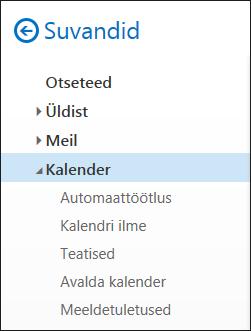 Outlooki kalendri Veebisuvandid