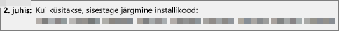Kujutab installi ID-d, mille esitate telefonitsi tooteaktiveerimiskeskusesse