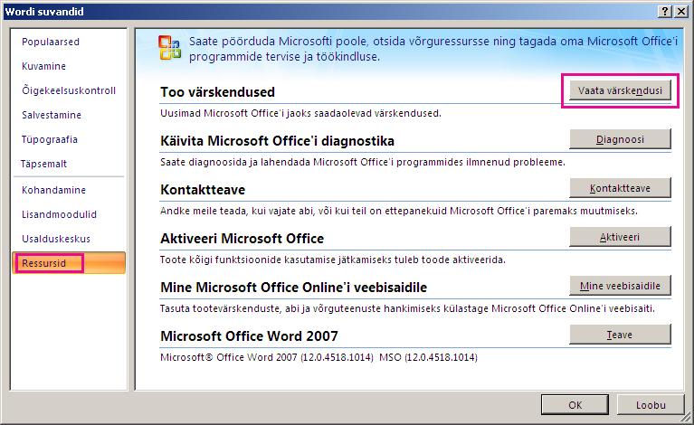 Office'i värskenduste kontrollimine versioonis Word 2007