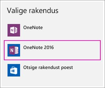 Operatsioonisüsteemi Windows 10 menüü Sätted suvandi Rakenduse valimine kuvatõmmis.