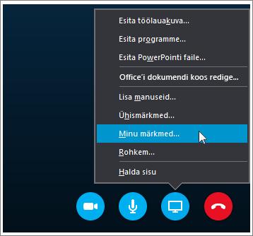 Kuvatõmmis OneNote 2016 märkmete ühiskasutusse andmisest Skype'i ärirakenduse kaudu.