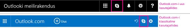 Skype'i nupp uuenenud ja pärand-Outlook.com-is