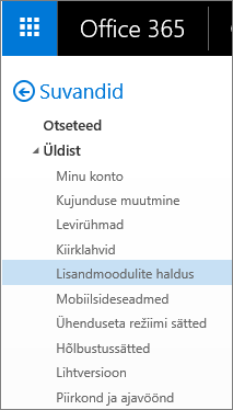 """Kuvatõmmis Outlooki menüü """"Suvandid"""" jaotisest """"Üldist"""", kus on esile tõstetud valik """"Lisandmoodulite haldus""""."""