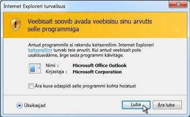 Dialoogiboks Internet Exploreri turvalisus